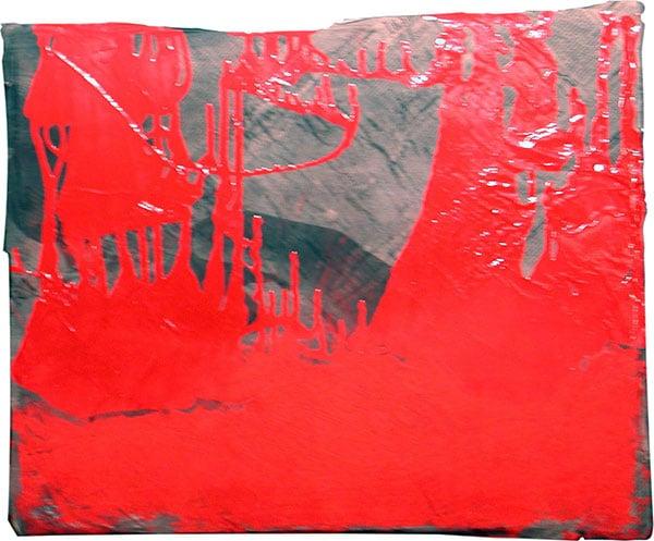 senza titolo; 1995; 50x62 cm; tempera, smalto, gesso rosso; su cartone